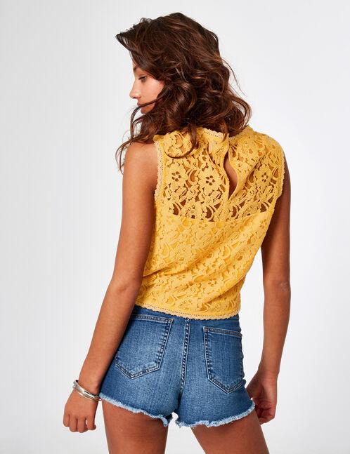 Ochre lace blouse