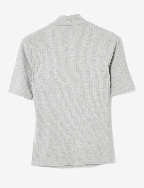Grey marl T-shirt with zip detail
