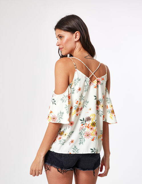 Cream blouse with cut-out shoulders