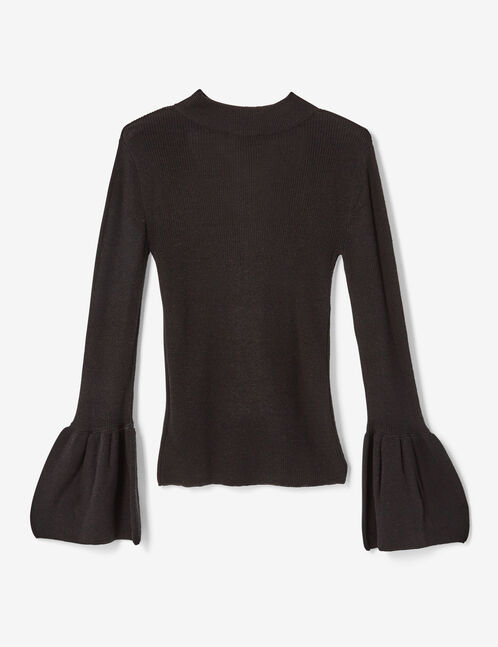Black jumper with open front detail
