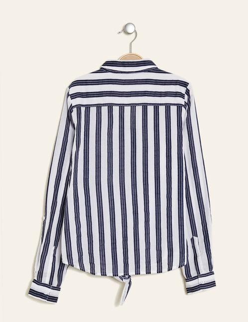 chemise en coton à nouer écru et bleu marine