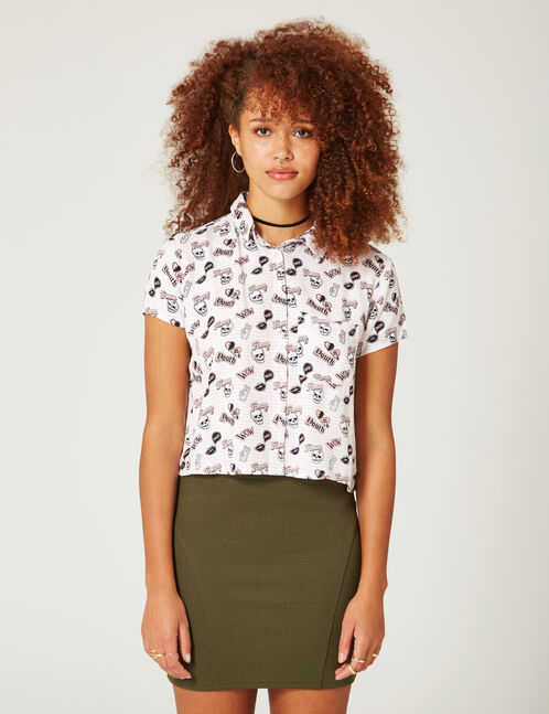 Cream shirt with mixed prints