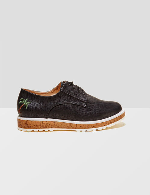 Black derby shoes with embroidered palm trees