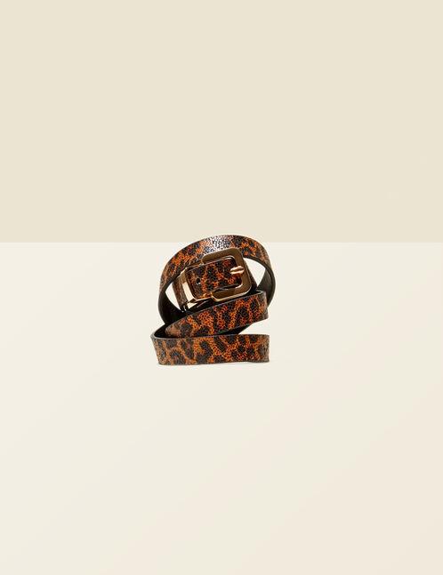 ceinture imprimé léopard marron et noire