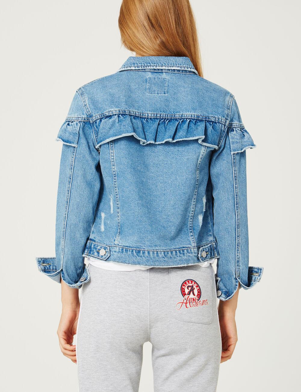 veste en jean avec volants medium blue femme jennyfer. Black Bedroom Furniture Sets. Home Design Ideas