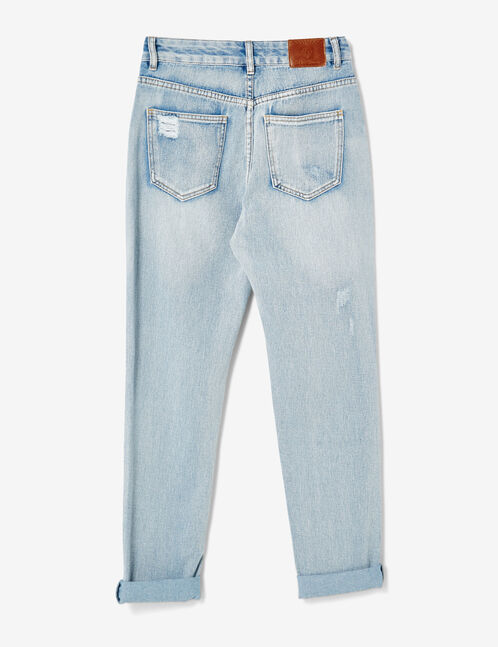 Light blue distressed mom jeans