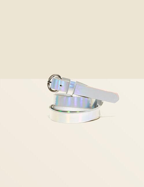 ceinture effet holographique argentée