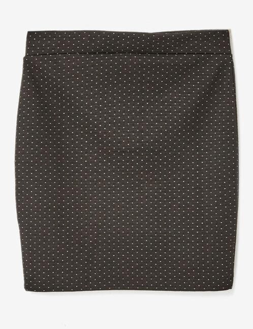 Black zipped polka dot skirt