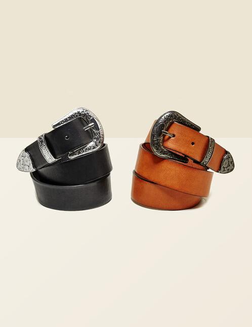 Black Western-style wide belt