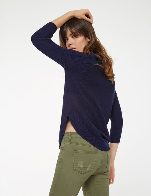 Long navy blue textured jumper