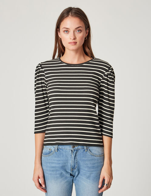 Cream and black striped balloon sleeve top