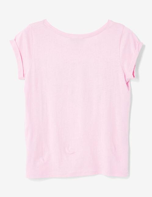tee-shirt imprimé mauve