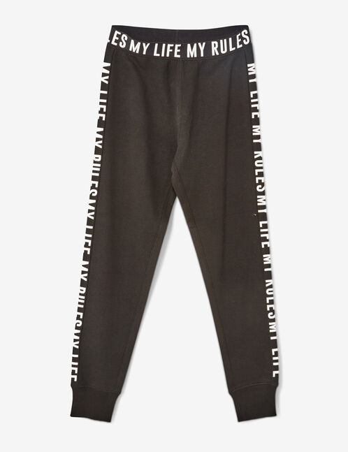 "Black ""my life my rules"" joggers"