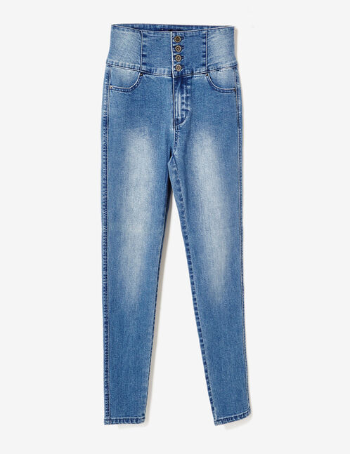 Medium blue super high-waisted jeans