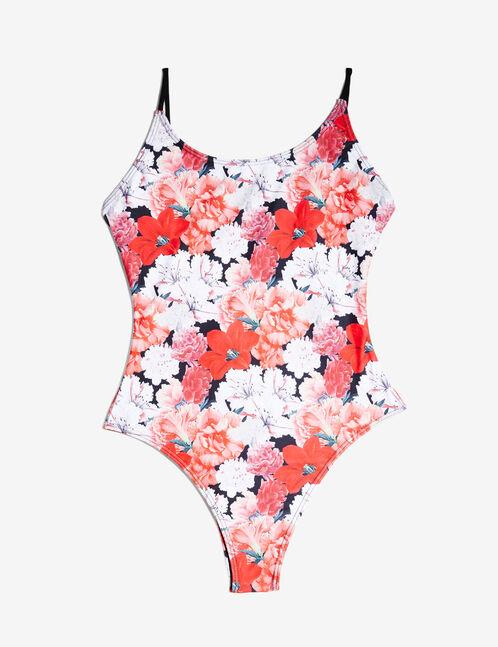 maillot de bain fleuri rouge, blanc et noir