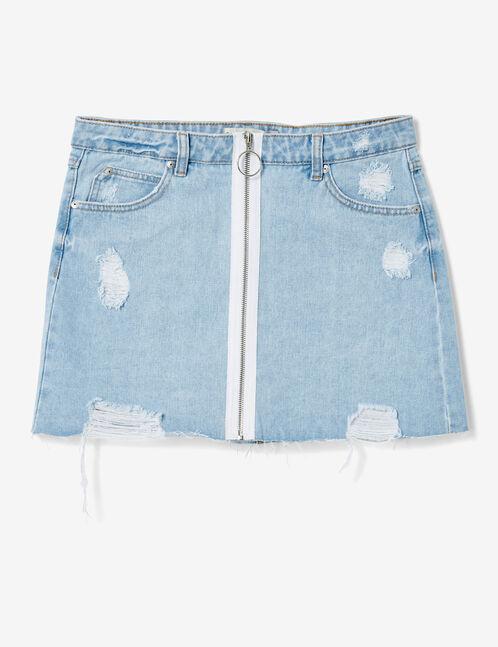 jupe en jean zippée bleach