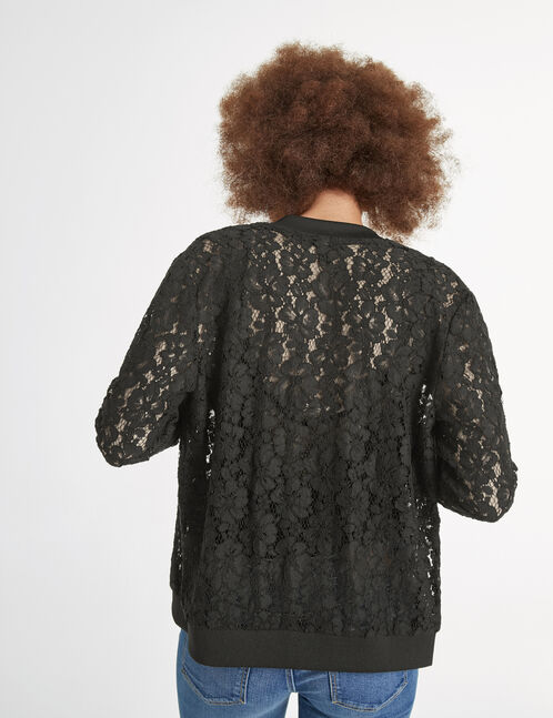 Black bomber jacket with openwork lace detail