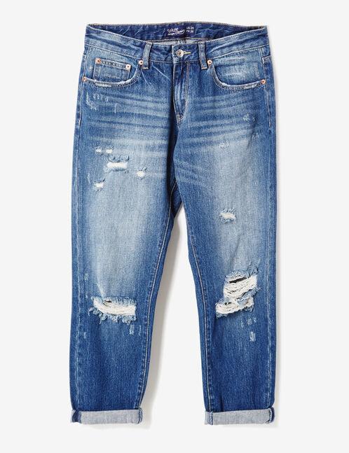 Dark blue distressed boyfriend jeans
