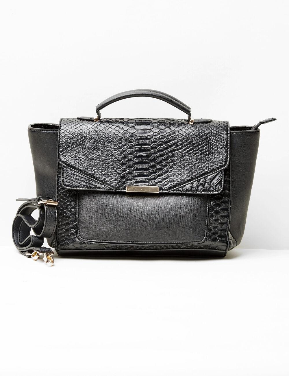 Sac A Main Cartable Cuir Noir : Sac cartable motif python noir femme jennyfer