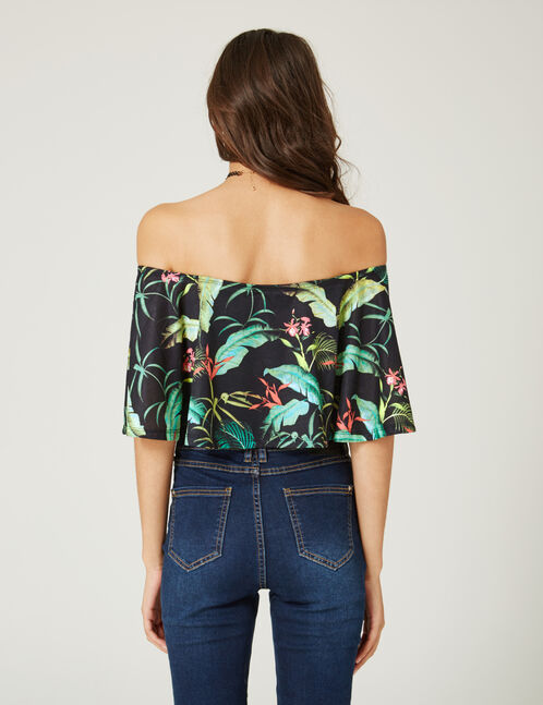 Black bodysuit with tropical print frill detail