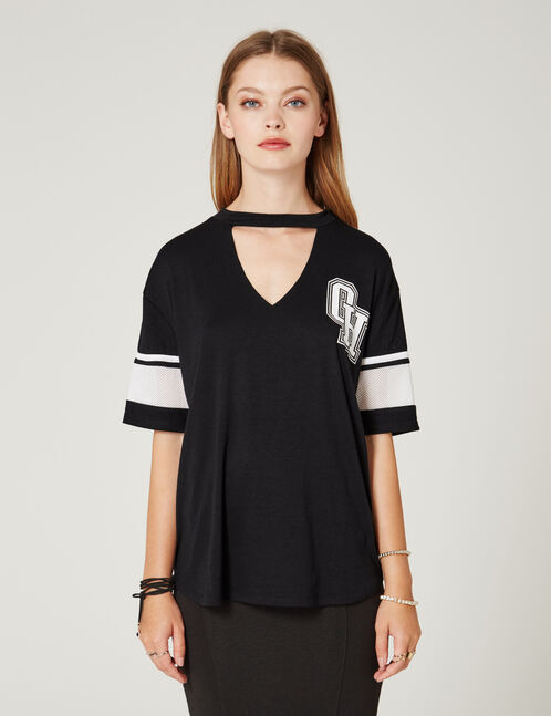 Black T-shirt with cut-out detail