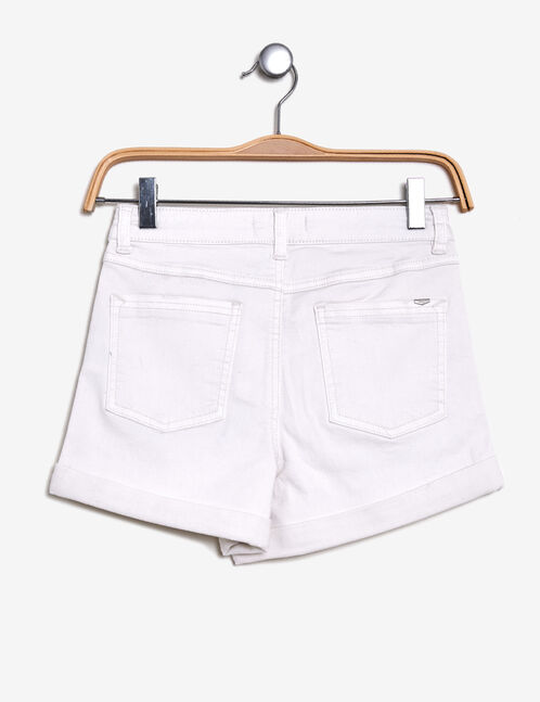 short taille haute à revers blanc