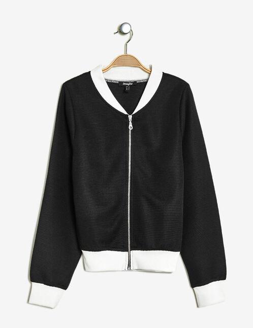 Black textured zipped jacket