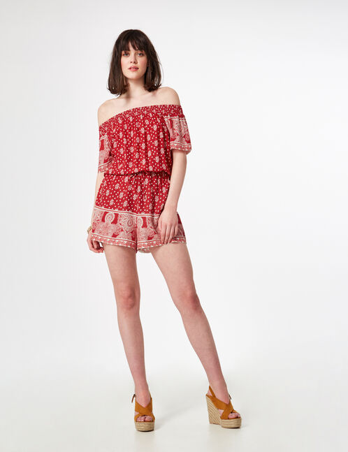 Red and cream off-the-shoulder playsuit