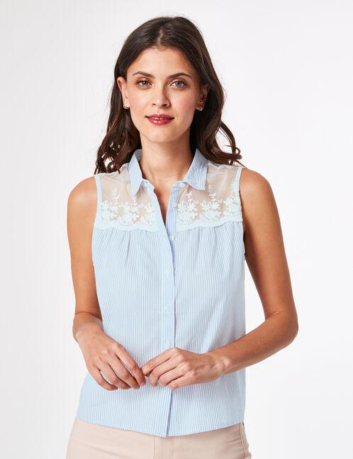 chemise bi-matière à nouer écrue et bleu clair
