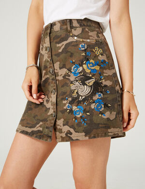 Jupe Avec broderies camouflage kaki