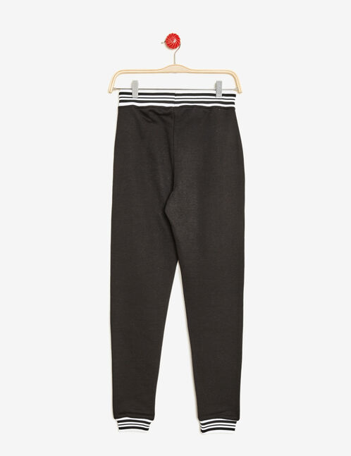 Black joggers with striped edging detail