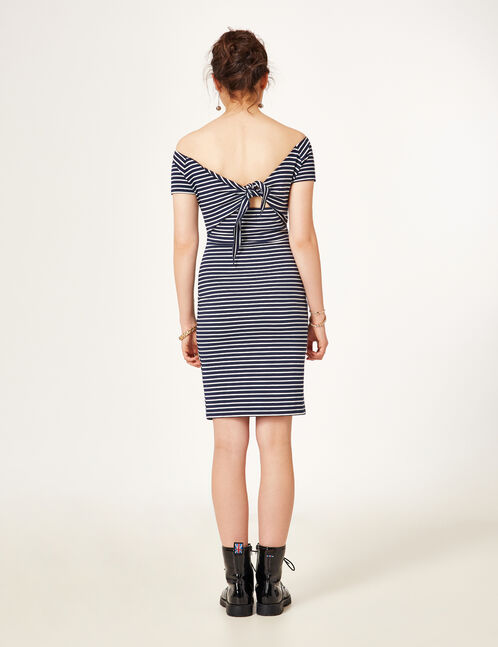 robe à nouer dans le dos rayé bleu marine et blanche
