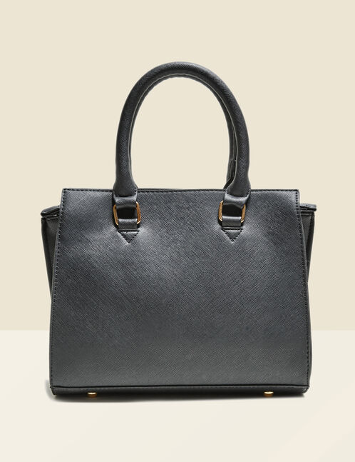 Black striated effect small tote bag