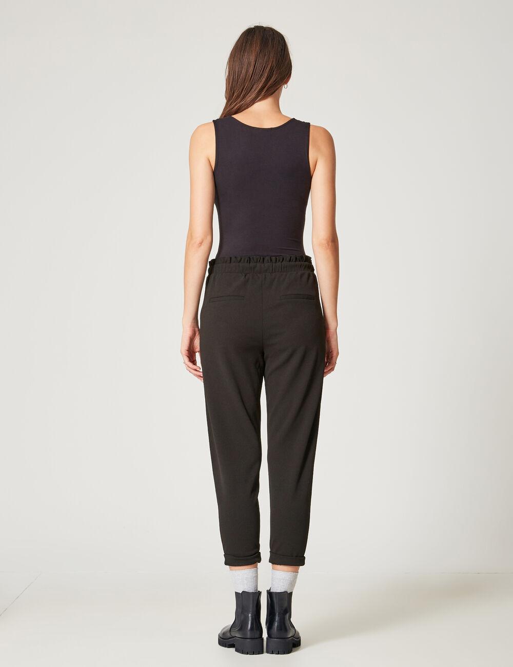 pantalon fluide avec fronces noir femme jennyfer. Black Bedroom Furniture Sets. Home Design Ideas