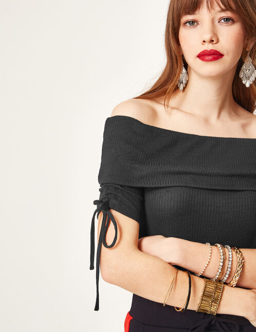 Black off-the-shoulder bodysuit