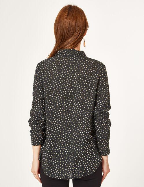 chemise fleurie noire