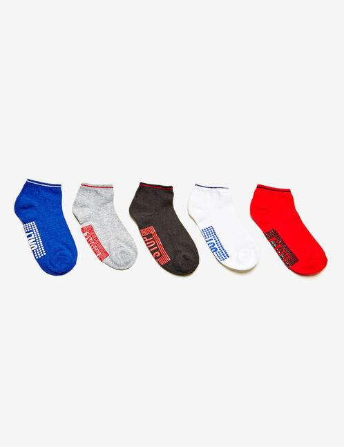 chaussettes fitness bleues, grises, noires, blanches et rouges