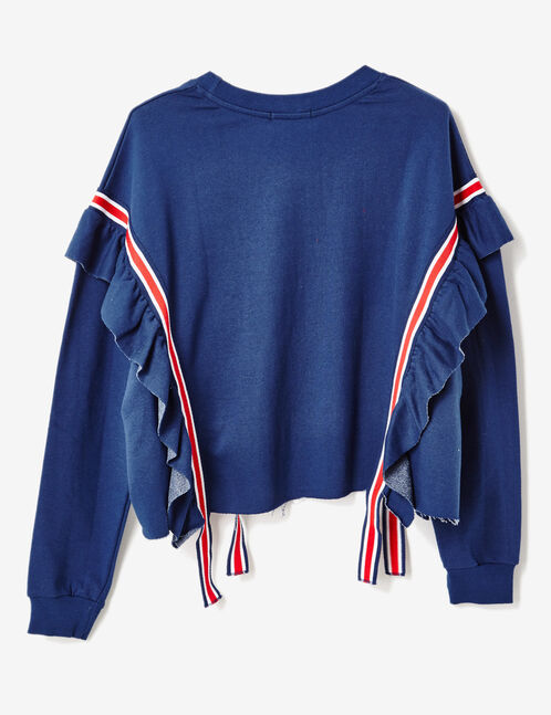 Navy blue sweatshirt with stripe and frill details
