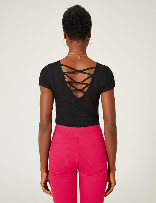 Black deep-back top with strap detail