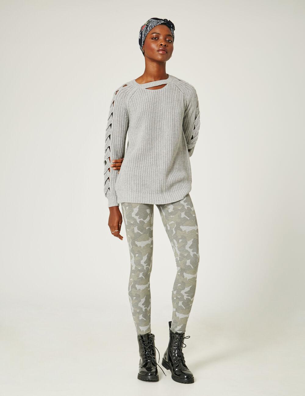 legging basic camouflage kaki et gris femme jennyfer. Black Bedroom Furniture Sets. Home Design Ideas
