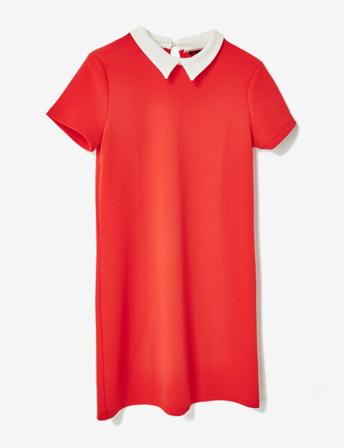 Red textured dress with white collar detail