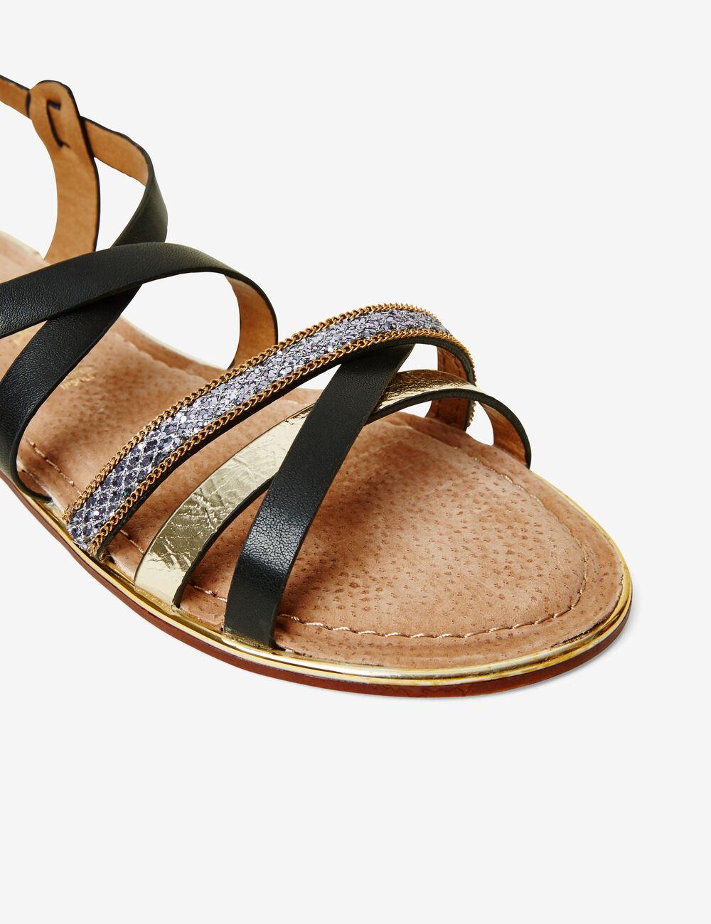 sandales avec liens noires et dor es femme jennyfer. Black Bedroom Furniture Sets. Home Design Ideas