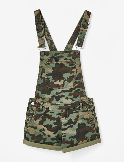 Khaki camouflage dungaree shorts