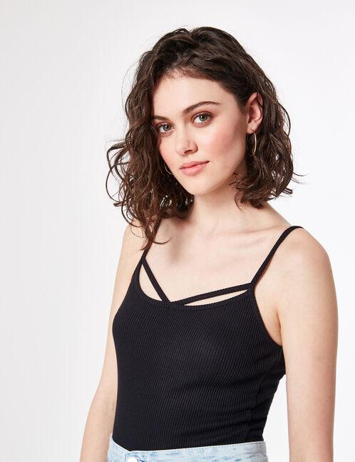Black bodysuit with strap detail
