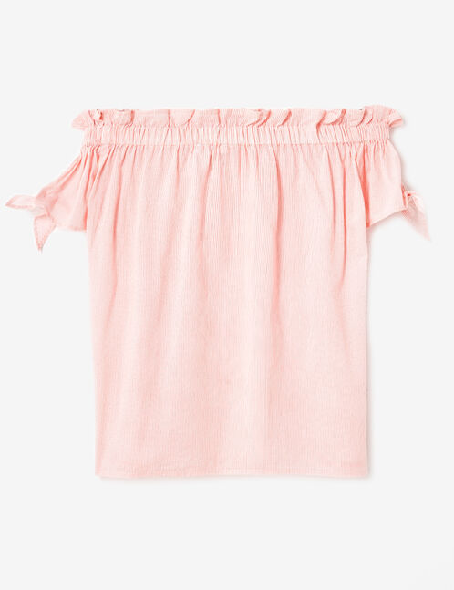 blouse épaules dénudées écrue et corail