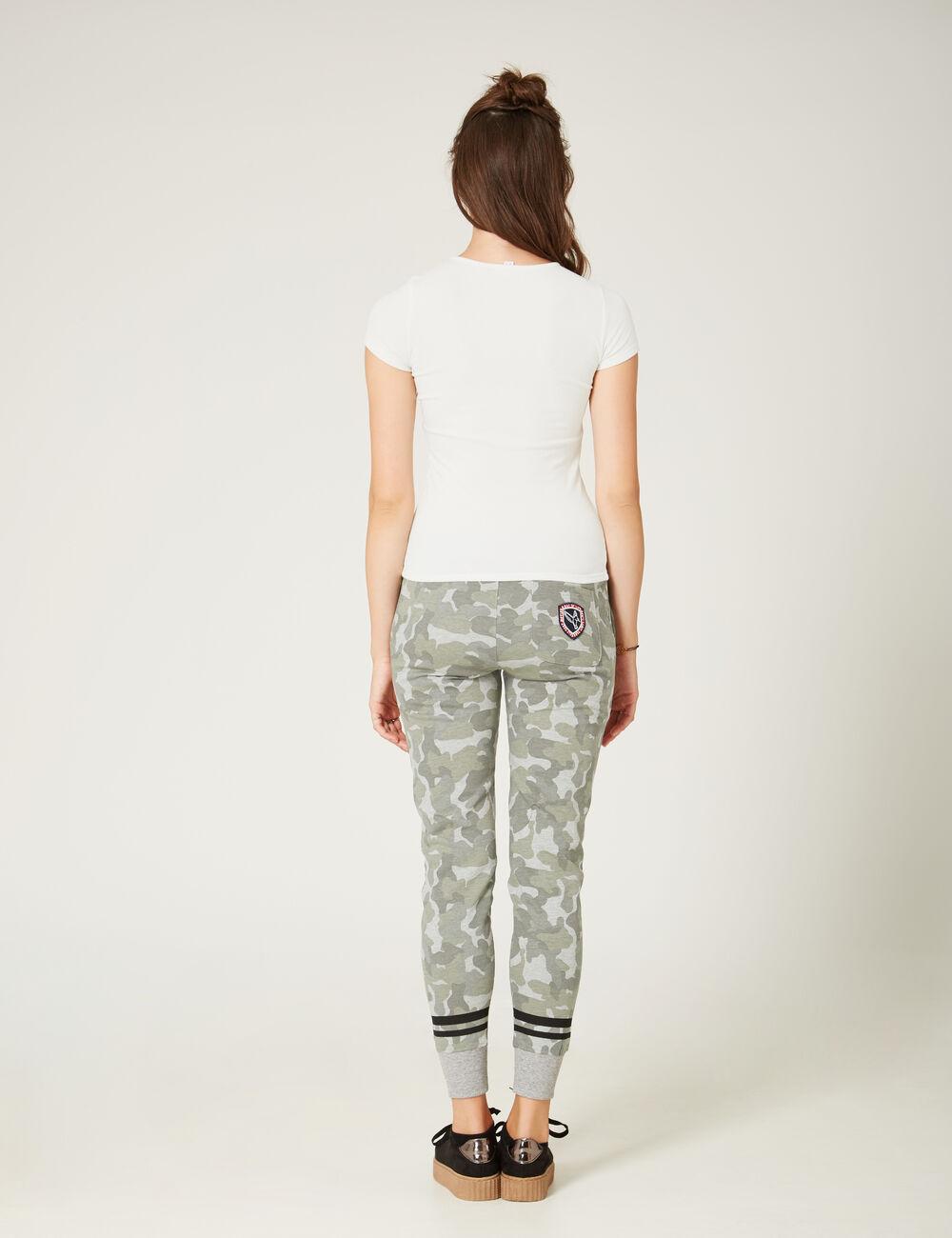 jogging slim keep track camouflage kaki et gris chin femme jennyfer. Black Bedroom Furniture Sets. Home Design Ideas