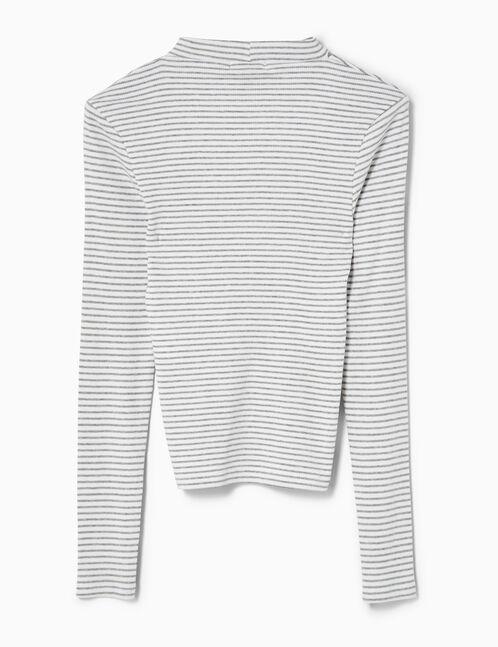tee-shirt avec ouverture rayé écru et gris