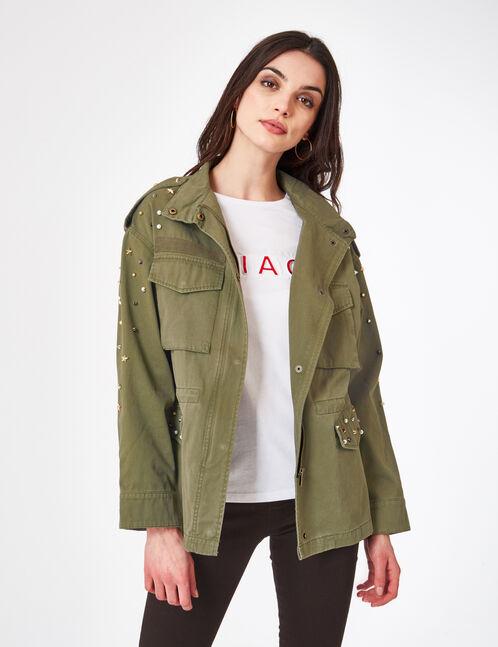 Khaki jacket with stud and beading detail