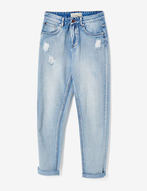 jean mom fit destroy medium blue