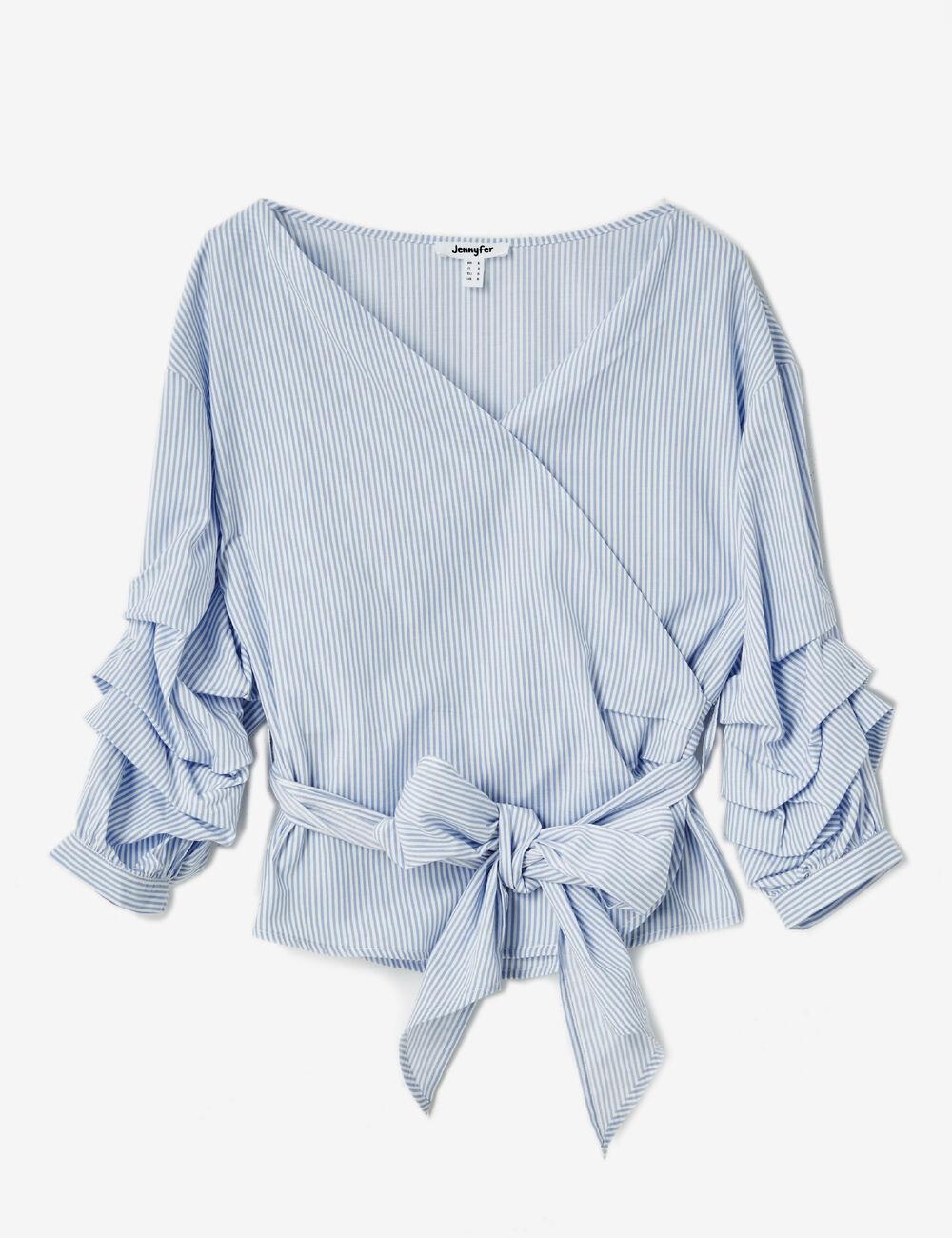 blouse cache coeur ray e bleue et crue femme jennyfer. Black Bedroom Furniture Sets. Home Design Ideas